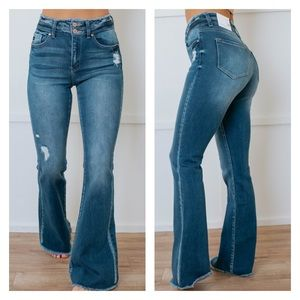 NWT KanCan Double Button High Rise Flare Jeans